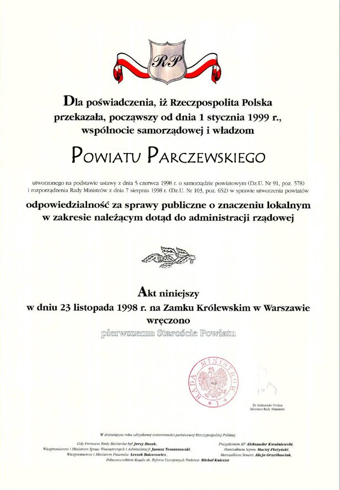 Akt Erekcyjny Powiatu Parczewskiego